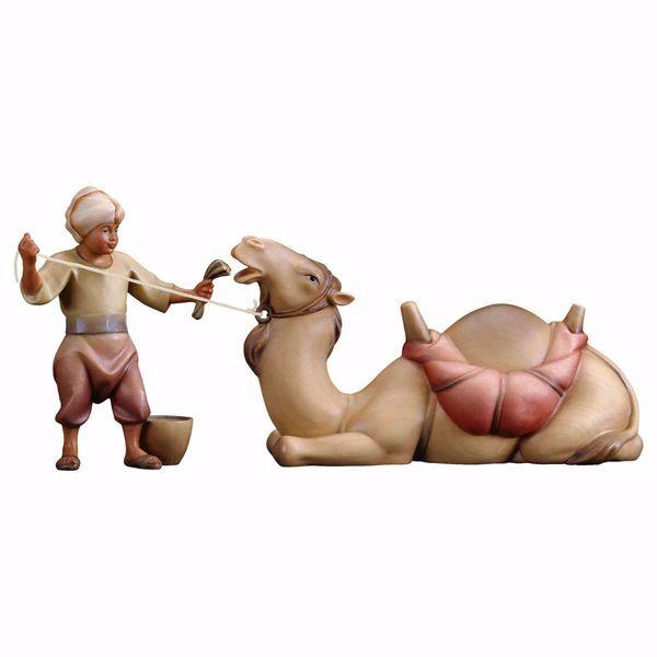 Imagen de Grupo Camello yacente 2 Piezas cm 10 (3,9 inch) Belén Redentor pintado a mano Estatuas artesanales de madera Val Gardena estilo tradicional