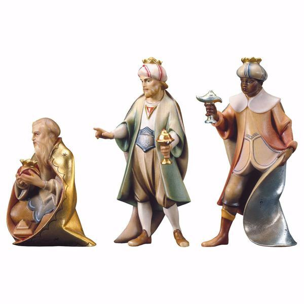 Picture of Three Wise Kings Group 3 Pieces cm 10 (3,9 inch) hand painted Saviour Nativity Scene Val Gardena wooden Statues traditional style