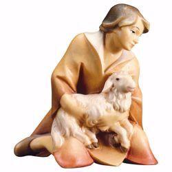 Imagen de Pastor arrodillado con Cordero cm 10 (3,9 inch) Belén Redentor pintado a mano Estatua artesanal de madera Val Gardena estilo tradicional