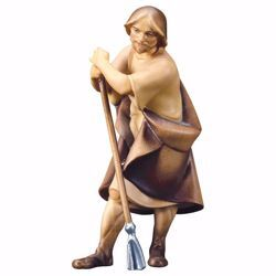 Picture of Shepherd with Hoe cm 10 (3,9 inch) hand painted Saviour Nativity Scene Val Gardena wooden Statue traditional style