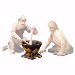 Picture of Pot on fire cm 10 (3,9 inch) hand painted Saviour Nativity Scene Val Gardena wooden Statue traditional style