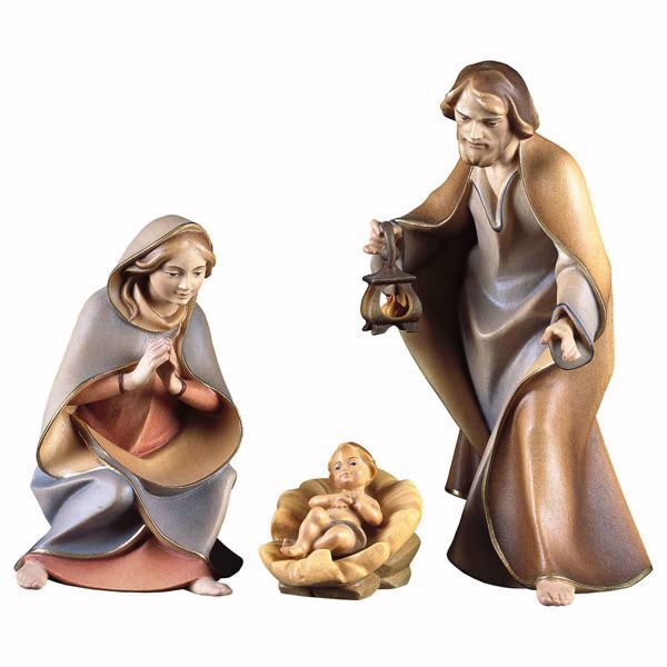 Immagine di Sacra Famiglia 4 Pezzi cm 10 (3,9 inch) Presepe Redentore dipinto a mano Statue artigianali in legno Val Gardena stile tradizionale