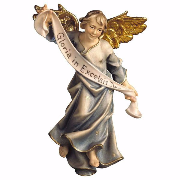 Picture of Blue Glory Angel cm 12 (4,7 inch) hand painted Ulrich Nativity Scene Val Gardena wooden Statue baroque style