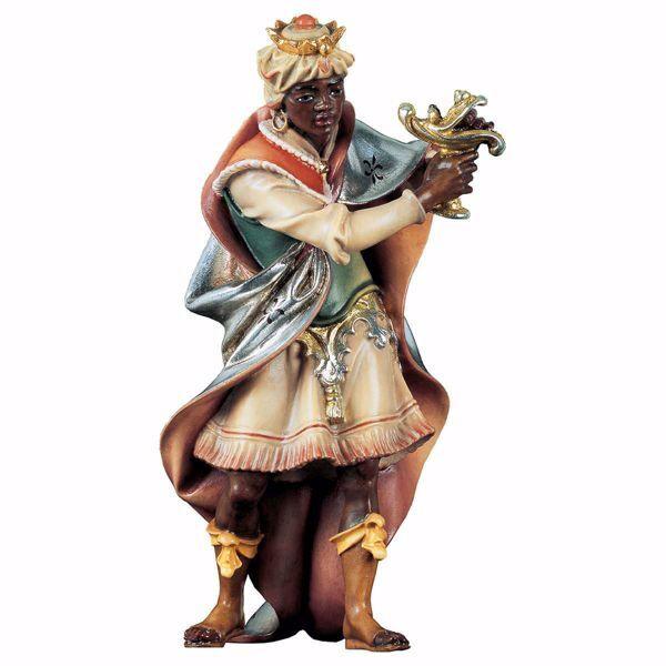 Imagen de Baltasar Rey Mago Negro de pie cm 12 (4,7 inch) Belén Ulrich pintado a mano Estatua artesanal de madera Val Gardena estilo barroco