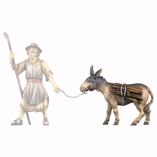 Picture of Donkey with Wood cm 12 (4,7 inch) hand painted Ulrich Nativity Scene Val Gardena wooden Statue baroque style