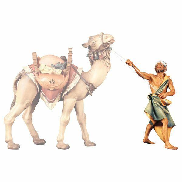 Imagen de Camellero de pie cm 12 (4,7 inch) Belén Ulrich pintado a mano Estatua artesanal de madera Val Gardena estilo barroco