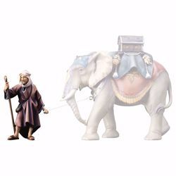 Picture of Standing Elephant Driver cm 12 (4,7 inch) hand painted Ulrich Nativity Scene Val Gardena wooden Statue baroque style