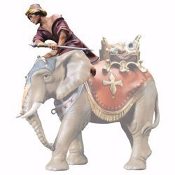 Picture of Sitting elephant driver cm 12 (4,7 inch) hand painted Ulrich Nativity Scene Val Gardena wooden Statue baroque style