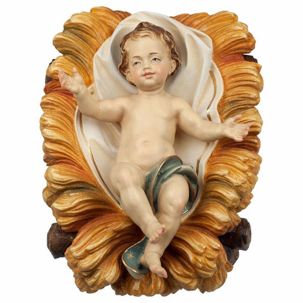 Imagen de Niño Jesús en Cuna 2 Piezas cm 12 (4,7 inch) Belén Ulrich pintado a mano Estatuas artesanales de madera Val Gardena estilo barroco