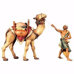 Picture of Camel group standing 3 Pieces cm 12 (4,7 inch) hand painted Ulrich Nativity Scene Val Gardena wooden Statues baroque style