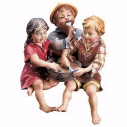 Picture of Sitting Children Group cm 12 (4,7 inch) hand painted Ulrich Nativity Scene Val Gardena wooden Statue baroque style