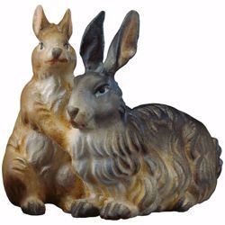 Picture of Group of rabbits cm 12 (4,7 inch) hand painted Ulrich Nativity Scene Val Gardena wooden Statue baroque style