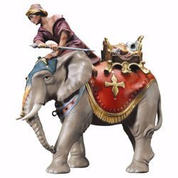 Picture of Elephant Group with juwels saddle 3 Pieces cm 12 (4,7 inch) hand painted Ulrich Nativity Scene Val Gardena wooden Statues baroque style