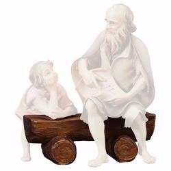 Picture of Bench cm 12 (4,7 inch) hand painted Ulrich Nativity Scene Val Gardena wooden Statue baroque style