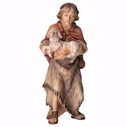 Picture of Shepherd with Lamb cm 12 (4,7 inch) hand painted Ulrich Nativity Scene Val Gardena wooden Statue baroque style