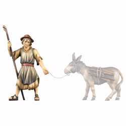 Picture of Shepherd pulling cm 12 (4,7 inch) hand painted Ulrich Nativity Scene Val Gardena wooden Statue baroque style
