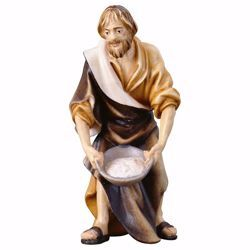 Picture of Shepherd with salt cm 12 (4,7 inch) hand painted Ulrich Nativity Scene Val Gardena wooden Statue baroque style