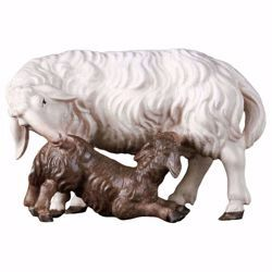 Picture of Sheep with Lamb cm 12 (4,7 inch) hand painted Ulrich Nativity Scene Val Gardena wooden Statue baroque style