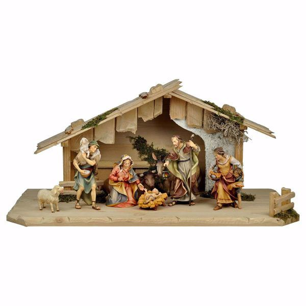 Picture of Ulrich Nativity Set 10 Pieces cm 12 (4,7 inch) hand painted Val Gardena wooden Statues