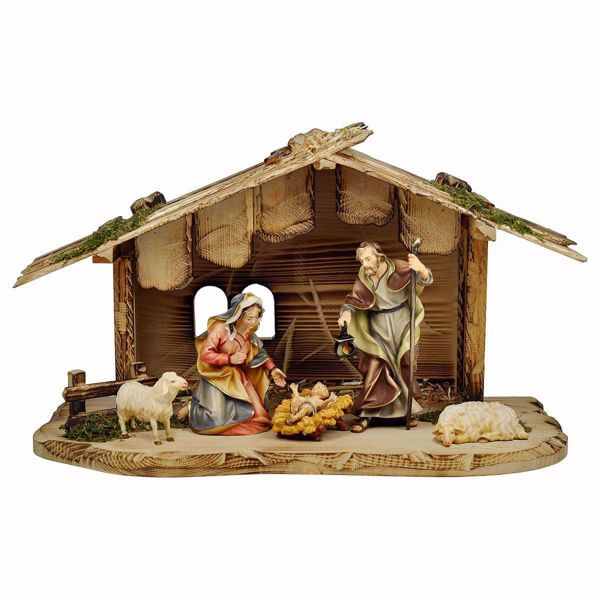 Picture of Ulrich Nativity Set 7 Pieces cm 12 (4,7 inch) hand painted Val Gardena wooden Statues