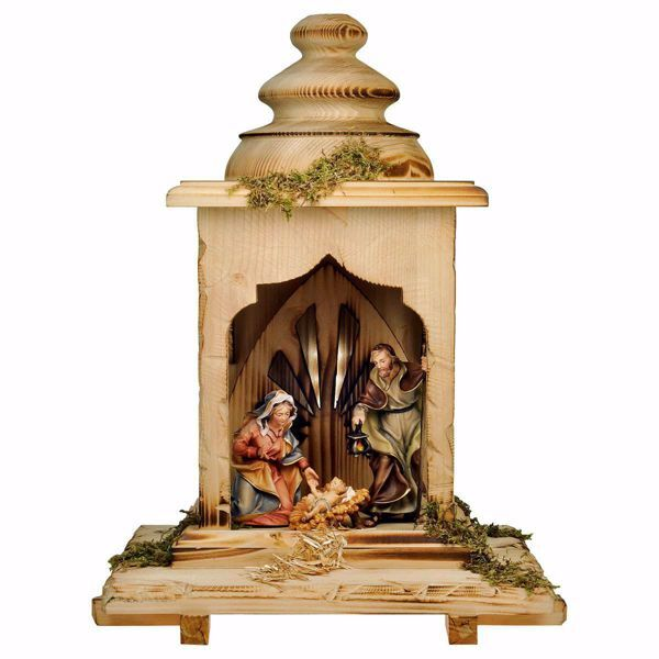 Picture of Ulrich Nativity Set 5 Pieces with Light cm 12 (4,7 inch) hand painted Val Gardena wooden Statues