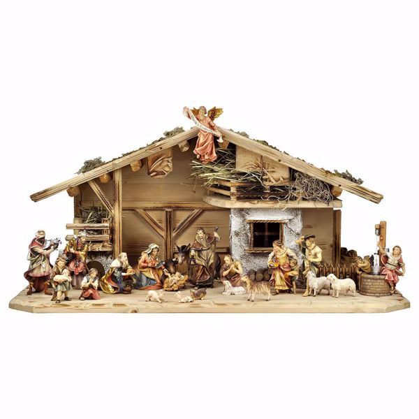 Picture of Ulrich Nativity Set 24 Pieces cm 12 (4,7 inch) hand painted Val Gardena wooden Statues