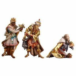 Picture of Three Wise Kings Group 3 Pieces cm 12 (4,7 inch) hand painted Ulrich Nativity Scene Val Gardena wooden Statues baroque style