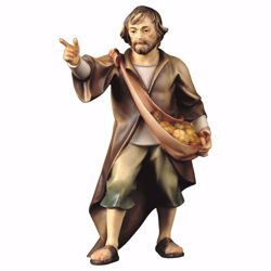 Picture of Shepherd indicating cm 12 (4,7 inch) hand painted Ulrich Nativity Scene Val Gardena wooden Statue baroque style