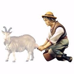 Picture of Shepherd milking cm 12 (4,7 inch) hand painted Ulrich Nativity Scene Val Gardena wooden Statue baroque style