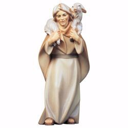 Picture of Herder with Sheep on Shoulders cm 12 (4,7 inch) hand painted Comet Nativity Scene Val Gardena wooden Statue traditional Arabic style
