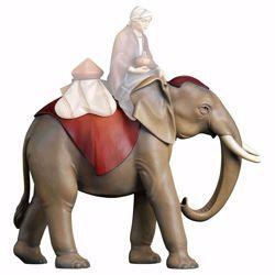 Imagen de Elefante de pie cm 12 (4,7 inch) Belén Redentor pintado a mano Estatua artesanal de madera Val Gardena estilo tradicional