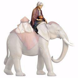 Imagen de Conductor de elefantes sentado cm 12 (4,7 inch) Belén Redentor pintado a mano Estatua artesanal de madera Val Gardena estilo tradicional