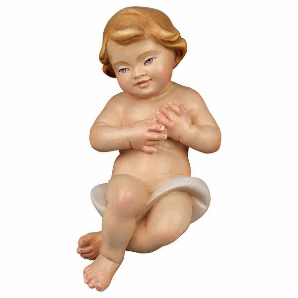Immagine di Gesù Bambino cm 12 (4,7 inch) Presepe Redentore dipinto a mano Statua artigianale in legno Val Gardena stile tradizionale