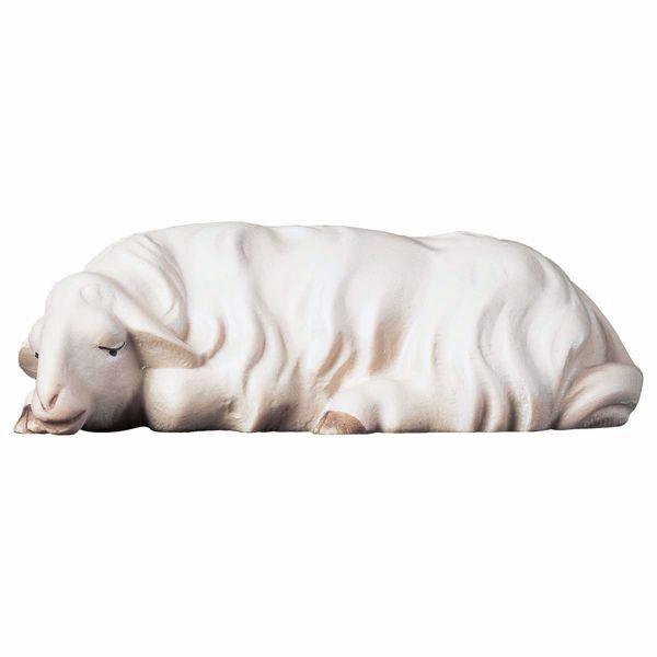 Immagine di Pecora che dorme cm 12 (4,7 inch) Presepe Redentore dipinto a mano Statua artigianale in legno Val Gardena stile tradizionale