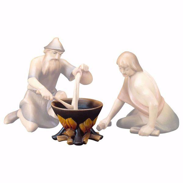 Imagen de Olla al fuego cm 12 (4,7 inch) Belén Redentor pintado a mano Estatua artesanal de madera Val Gardena estilo tradicional