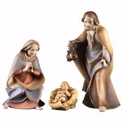 Picture of Holy Family 4 pieces cm 12 (4,7 inch) hand painted Saviour Nativity Scene Val Gardena wooden Statues traditional style