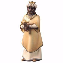 Imagen de Baltasar Rey Mago Negro de pie cm 16 (6,3 inch) Belén Cometa pintado a mano Estatua artesanal de madera Val Gardena estilo Árabe tradicional
