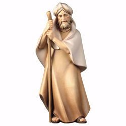 Immagine di Pastore con bastone cm 16 (6,3 inch) Presepe Cometa dipinto a mano Statua artigianale in legno Val Gardena stile Arabo tradizionale