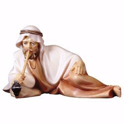 Picture of Sitting Shepherd with pipe cm 16 (6,3 inch) hand painted Comet Nativity Scene Val Gardena wooden Statue traditional Arabic style