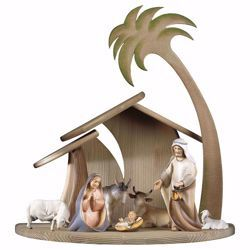 Picture of Comet Nativity Set 9 Pieces cm 16 (6,3 inch) hand painted Val Gardena wooden Statues