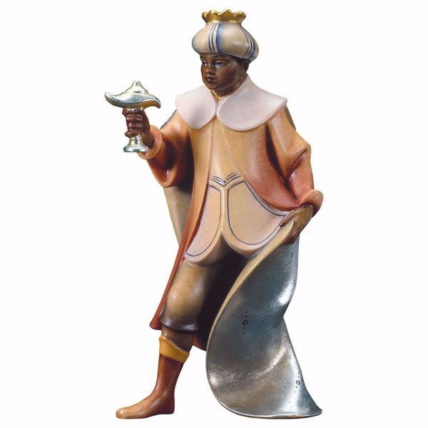 Imagen de Baltasar Rey Mago Negro de pie cm 16 (6,3 inch) Belén Redentor pintado a mano Estatua artesanal de madera Val Gardena estilo tradicional
