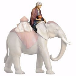 Picture of Sitting elephant driver cm 16 (6,3 inch) hand painted Saviour Nativity Scene Val Gardena wooden Statue traditional style