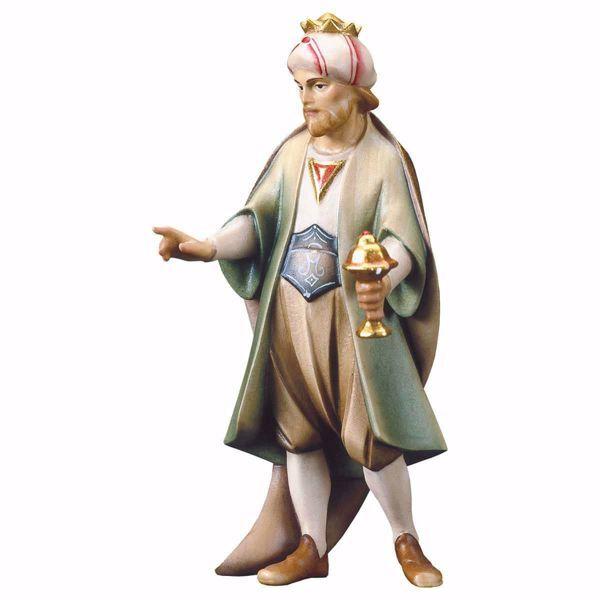Imagen de Gaspar Rey Mago Blanco de pie cm 16 (6,3 inch) Belén Redentor pintado a mano Estatua artesanal de madera Val Gardena estilo tradicional