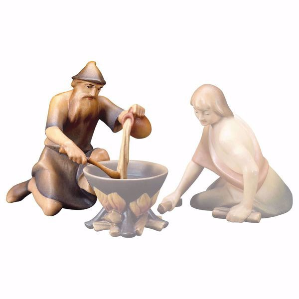 Picture of Shepherd cooking cm 16 (6,3 inch) hand painted Saviour Nativity Scene Val Gardena wooden Statue traditional style