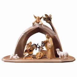 Picture of Saviour Nativity Set 11 Pieces cm 16 (6,3 inch) hand painted Val Gardena wooden Statues