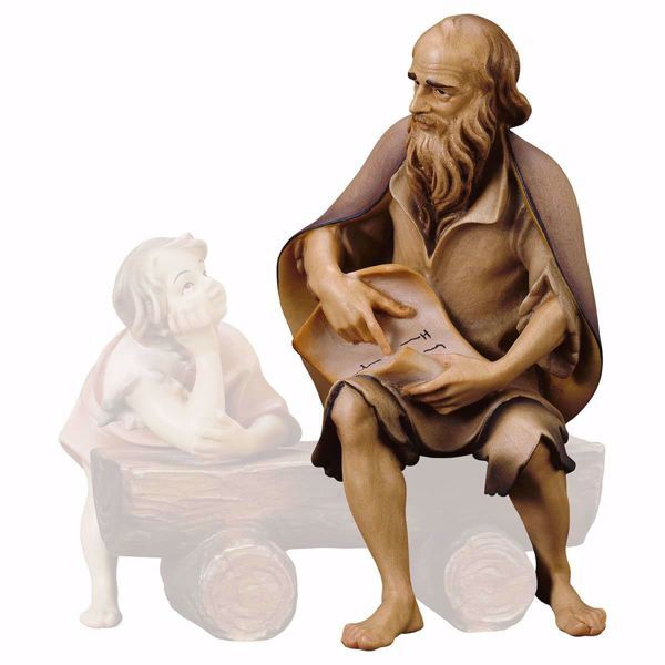 Picture of Old herder narrating cm 15 (5,9 inch) hand painted Ulrich Nativity Scene Val Gardena wooden Statue baroque style