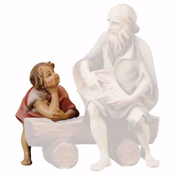 Picture of Boy listening cm 15 (5,9 inch) hand painted Ulrich Nativity Scene Val Gardena wooden Statue baroque style