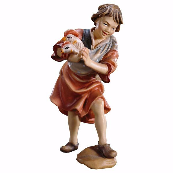Picture of Boy with hens cm 15 (5,9 inch) hand painted Ulrich Nativity Scene Val Gardena wooden Statue baroque style