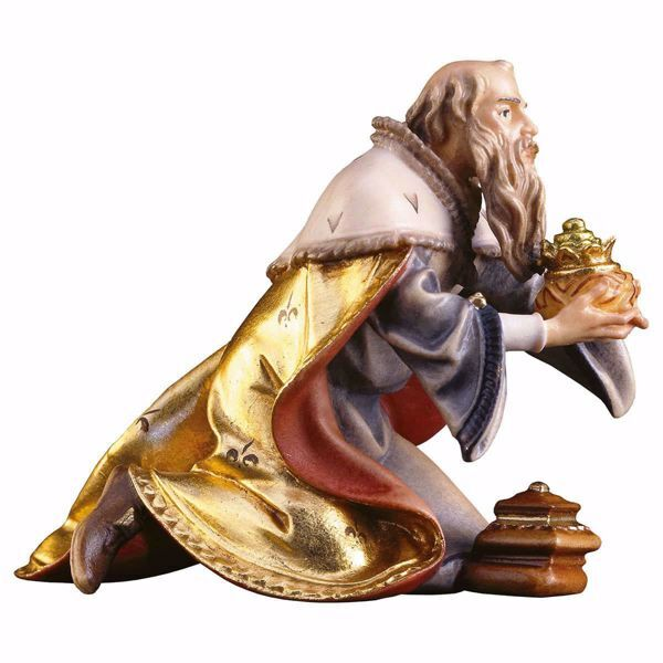 Picture of Melchior Saracen Wise King kneeling cm 15 (5,9 inch) hand painted Ulrich Nativity Scene Val Gardena wooden Statue baroque style