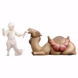 Picture of Lying Camel cm 25 (9,8 inch) hand painted Comet Nativity Scene Val Gardena wooden Statue traditional Arabic style